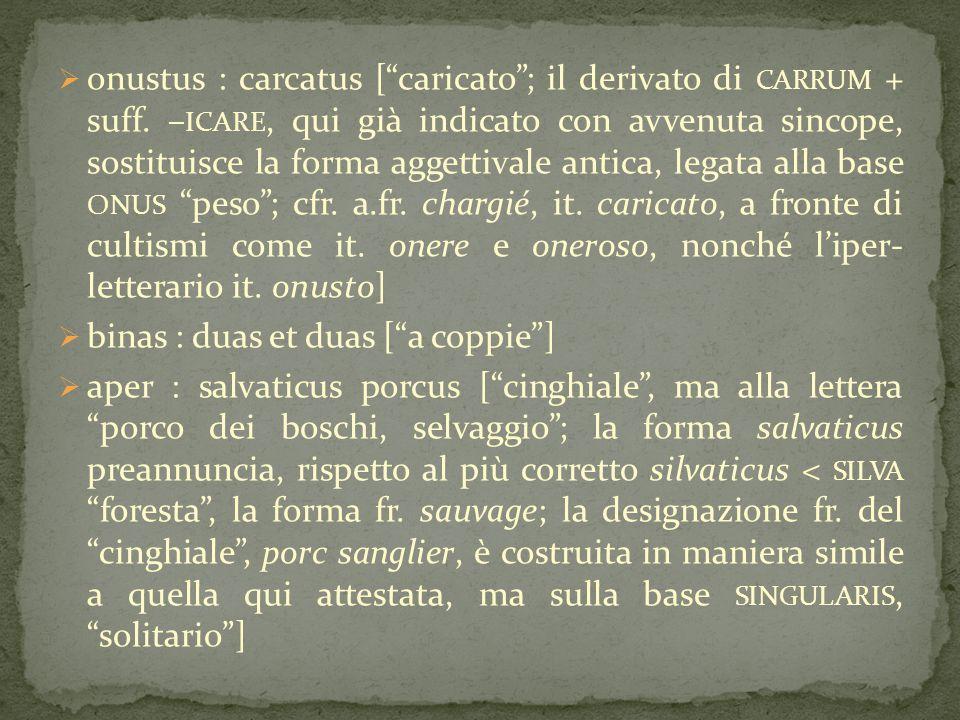 onustus : carcatus [ caricato ; il derivato di carrum + suff